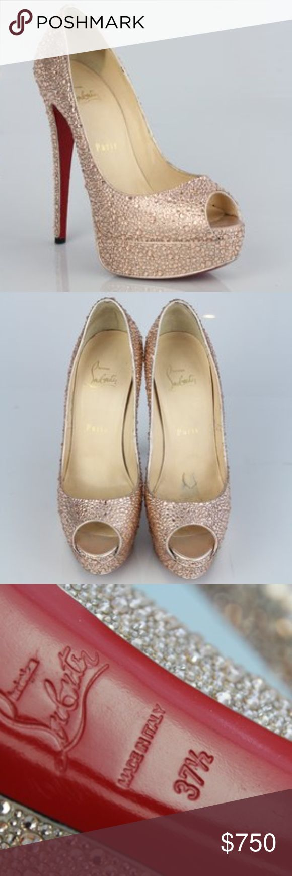 Christian Louboutin Lady Peep Swarovski Pumps Christian Louboutin Lady Peep Toe Swarovski Crystal Rose Gold Pumps.   One of my most favorite & gorgeous heels, I have ever owned; these are stunning (pics don't give justice).  Very good condition, yes there are scuffs on sole; and insoles have some wear, as seen in pics.  Size 37.5 (US size 7.5) Heel Height Appr. 5.75 inches with a 1.5 inch platform; Open Toe; Leather insoles; Dust Bag included! STUNNING ROSE GOLD COLOR Swarovski crystals from…