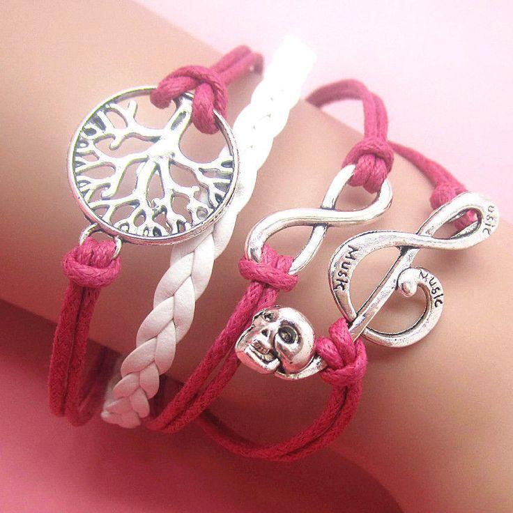 NEW Silver Fashion Jewelry Cute Infinity Music Charm Bracelet  #Fashion
