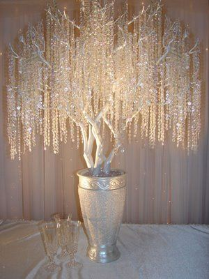 Reception: Manzanita crystal tree Centerpieces . :  wedding Tree 3