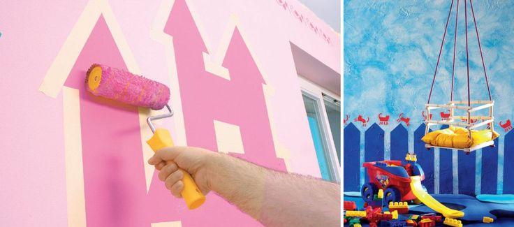 <p>Prezentujemy dwa sposoby na dekoracje ścienne do pokoju dziecięcego. Różowe królestwo stworzy doskonały klimat do zabawy w pokoju dla dziewczynki, a podwórko w odcieniach niebieskiego idealnie sprawdzi sie w pokoju chłopca. Zobacz jak wykonać obie aranżacje krok po kroku.</p>