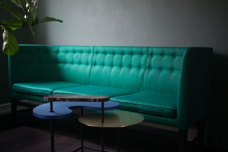 Mayor Sofa by Arne Jacobsen / Palette Desk by Jaime Hayon.