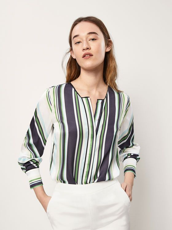 a835104a2525c Spring Summer 2018 Women´s STRIPED BLOUSE WITH SATIN DETAILS at Massimo  Dutti for 94.5. Effortless elegance!