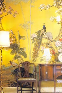 crazy awesome yellow chinoiserie wallpaper
