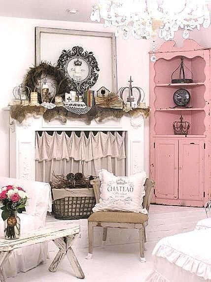 Love the fireplace and Shabby Chic Cupboard, BUT I also love the Pink, Black, & White color scheme ♥