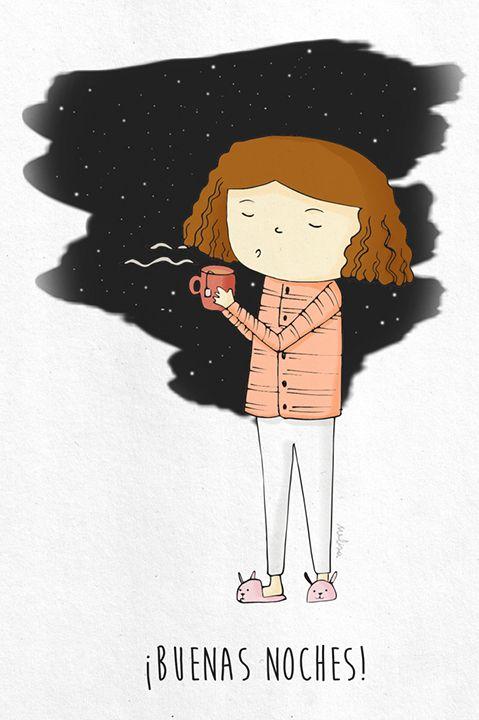 Buenas noches. Ilustración. Melisa Navarro #cup #tea #illustration #goodnight #warm #winter