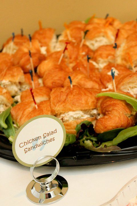 Creative Baby Shower Appetizers Part - 35: Baby Shower Food Table - Chicken Salad Sandwiches On Croissants I Am  Pinning This Because Chicken