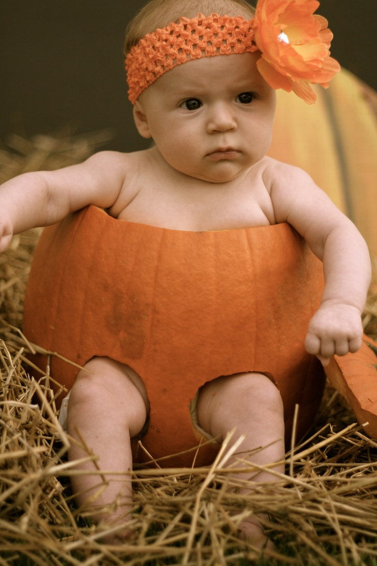 Baby Pumpkin - for Fall, Halloween, or Thanksgiving pictures. I hope that little girl is sitting on something other than the icky bottom of that pumpkin! Ew!