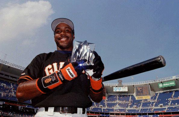 Every MLB Home Run Derby winner  -  July 7, 2017:    1996: BARRY BONDS, GIANTS  -    Bonds edged out Oakland's Mark McGwire in a home run battle that foreshadowed the pair's record-breaking futures. Bonds hit 17 home runs for the contest, while McGwire hit 15 at Veterans Stadium in Philadelphia.