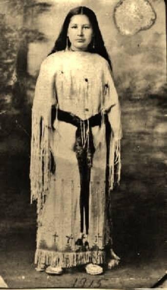 Edna Hokeah (later aka Edna Hokeah-Bosin-Pauahty), the daughter of Helen Hokeah - Kiowa - 1915  {Note: This photo of Edna was taken when she was 12-years-old. When she was older she became the wife of John Bosin, and then later the wife of Lynn Pauahty.}