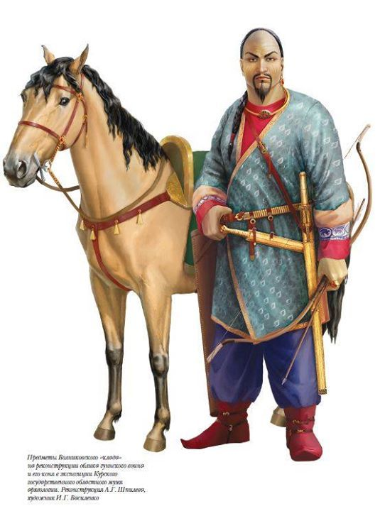 Noble Hun warrior, reconstructed by Volnikovka treasure, Russia