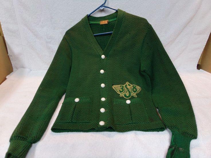 Antique letterman sweater jacket 1920s 1930s Silverwoods | eBay