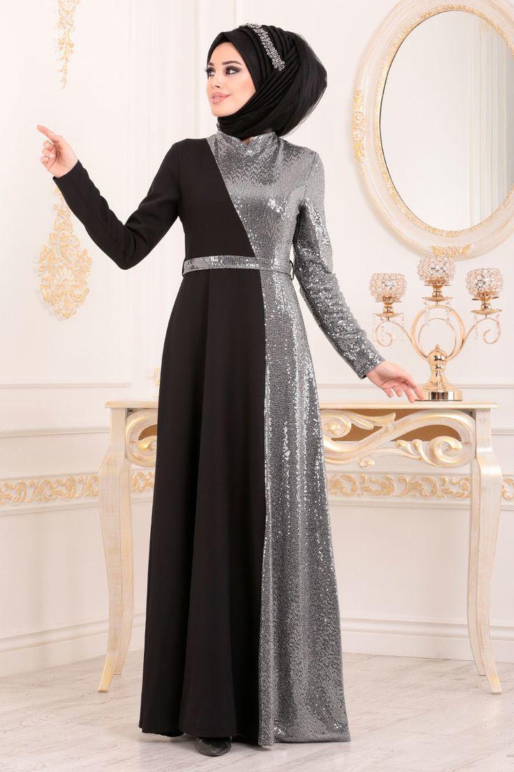 Hijab Abendkleid – Gewölbtes Graues Hijab Abendkleid 1234GR   – Elbise