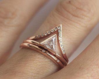 Perfect Trillion Wedding Set Wedding Ring Set Diamond Ring by MinimalVS