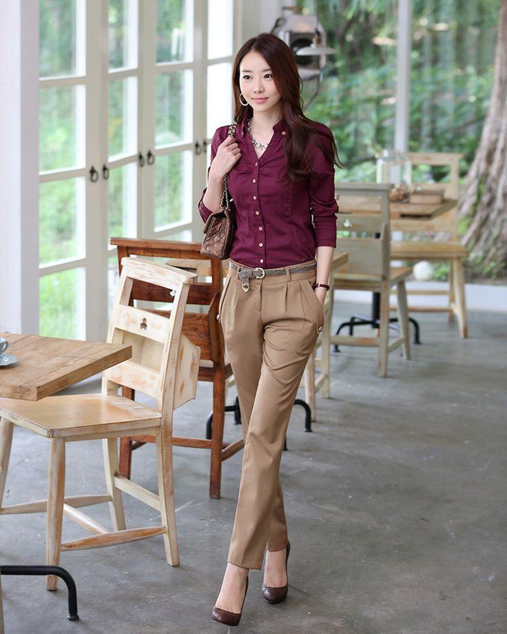 Günstige neue 2015 fashion casual frauen lange hosen koreanisch frühling gerade slim fit Büroarbeit kleidung ol hose frau hose pantalon femme, Kaufe Qualität Hosen & Caprihosen direkt vom China-Lieferanten: