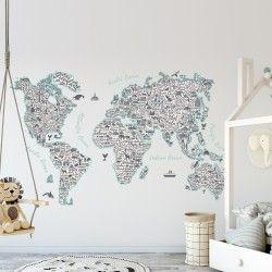 Vinilo decorativo mapamundi nombres e iconos