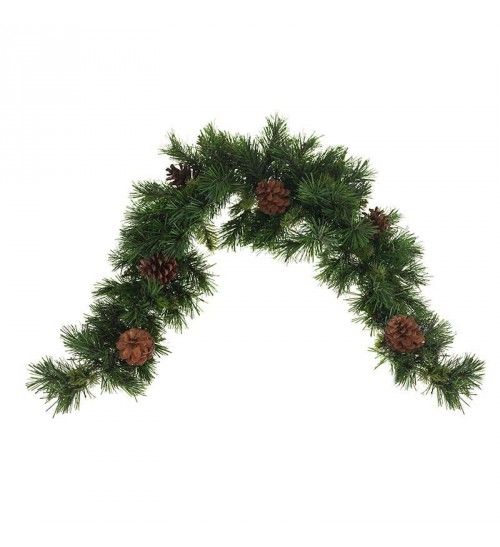 PVC GARLAND IN GREEN COLOR W_PINE CONES  (108 tips) L-90