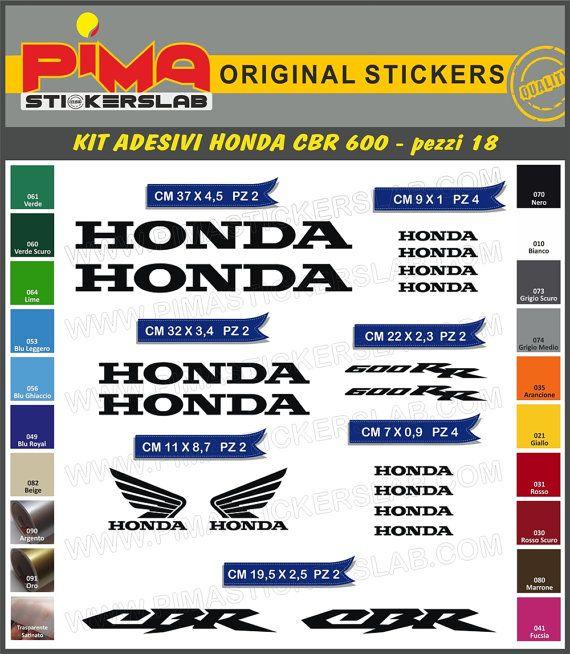 Adesivi Stickers kit HONDA CBR 600 moto di PIMAstickerslab su Etsy