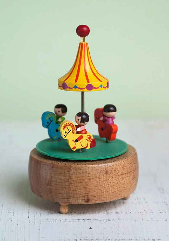 Wooden Carousel Music Box Reminds me of the one my Great Aunt Thelma had when I was a child!