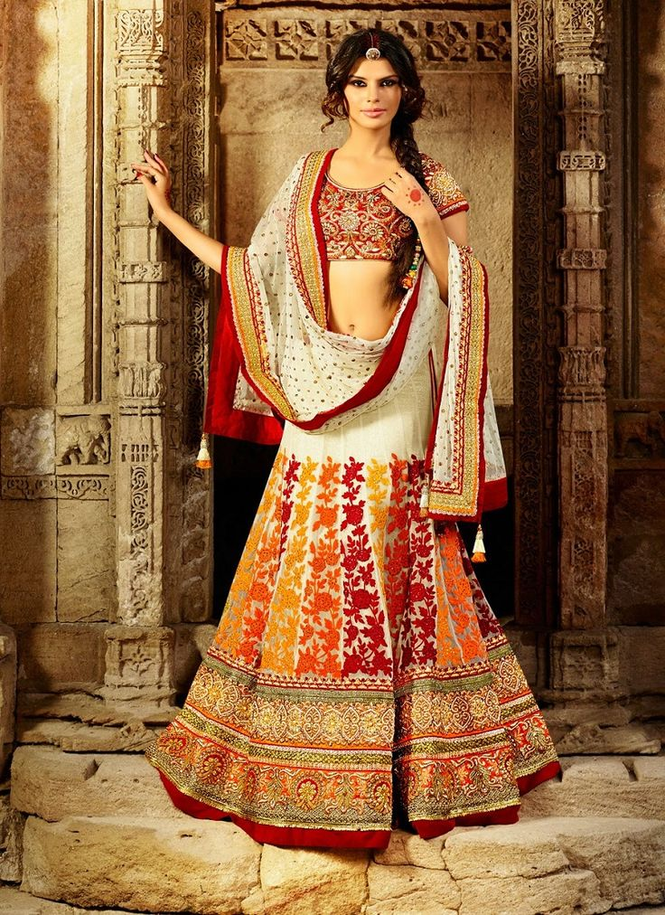 Georgette Embroidered and Patch Border Red and White Lehenga Choli  email : support@ethnicoutfits.com call - +918140714515 what's app - +918141377746
