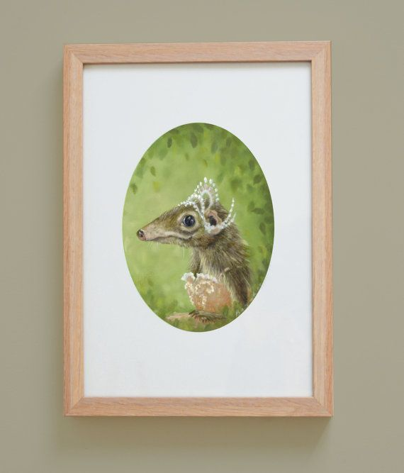 A shrew in a tutu. Ballerina. Baby Girls Room Woodland Print by chickenrittle on Etsy