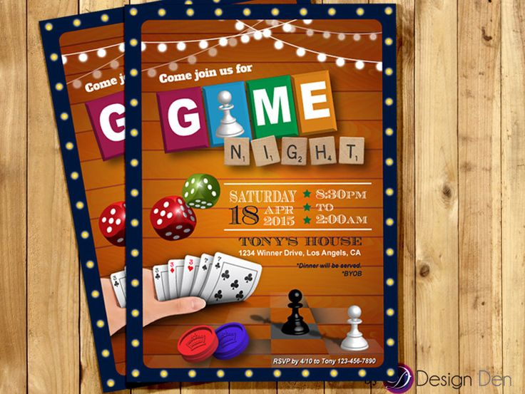 Game Night Invitation. Game Party invite. Old school Games Invitation. Cards games, Poker, Chess invite Printable Digital - #A1036 by ByDesignDen on Etsy https://www.etsy.com/listing/226570130/game-night-invitation-game-party-invite