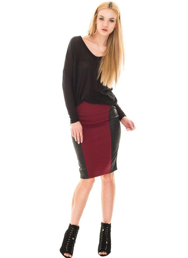 Burgundowa spódnica ołówkowa, http://modomania.o12.pl/jak-nosic-spodnice-olowkowa/