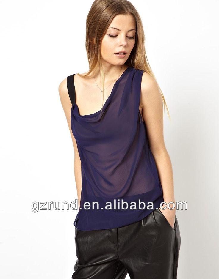 Blusas de chifon para ladies blusas de las mujeres ropa de verano 2014 chaleco con correa asimétrico y drapeado cuello model-cp195