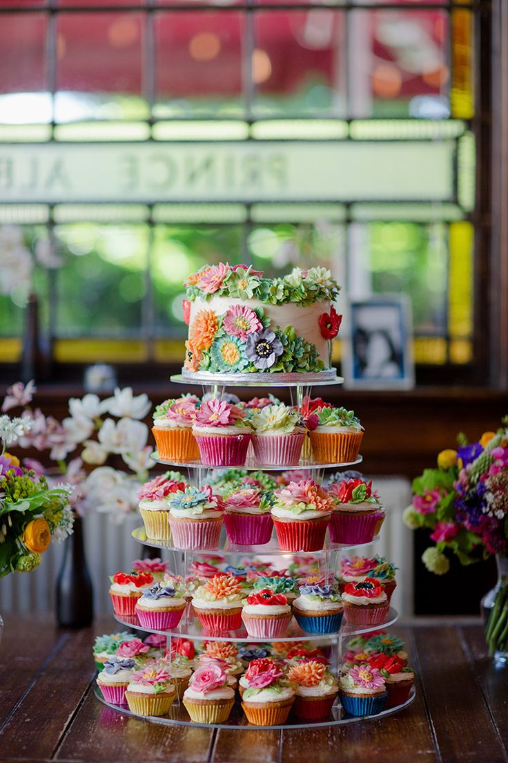 Flower Cake Floral Cupcakes Tiers Pretty Vibrant Quirky Colourful Spring London Wedding http://www.ireneyapweddings.com/