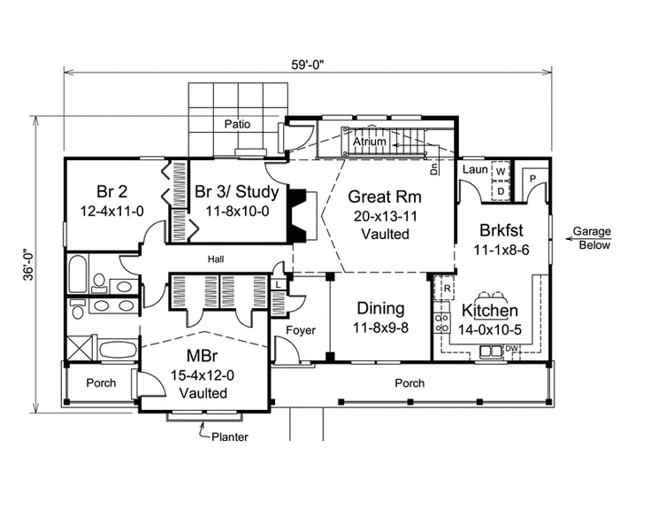 Small house plans with atrium for Atrium home plans