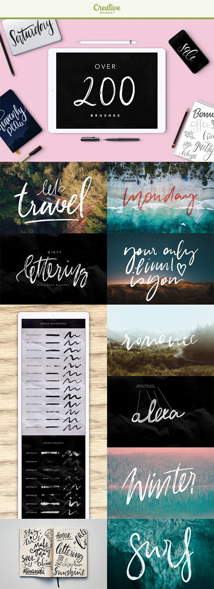 #affiliate This bundle contains over 200 high quality brushes for Procreate. With these brushes you can make astonishing Ipad lettering easily! Pressure sensitive + Apple Pencil on Ipad Pro. Best lettering brushes ever!