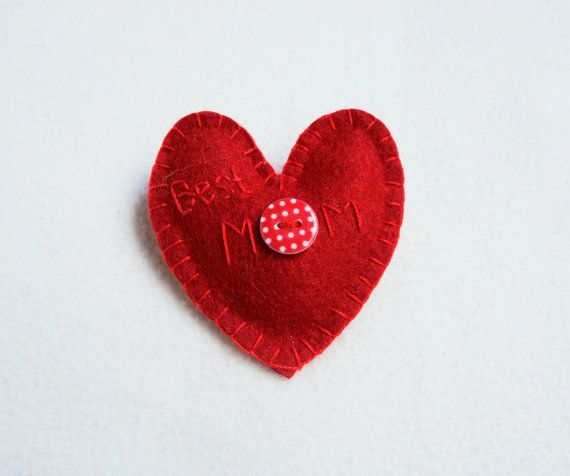 Heart ornament felt best Mom embroidered red by PrettyFeltThings