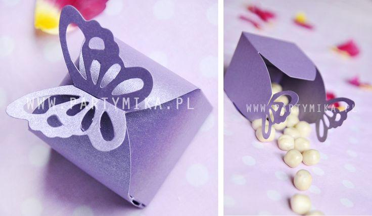 pudełko na cukierki z motylkiem - Partymika