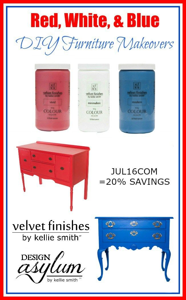 Check out these Red  White  and Blue DIY Furniture Makeovers using Velvet  Finishes 114 best Seasonal  Design Asylum Blog images on Pinterest   Asylum  . Red White And Blue Painted Furniture. Home Design Ideas