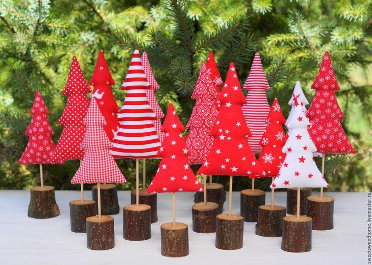 Купить Елочки - ярко-красный, новый год 2016, новогоднее украшение, новогодний декор, новогодние украшения
