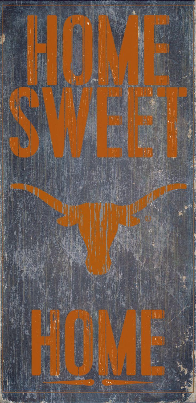 Texas Longhorns Wood Sign - Home Sweet Home 6x12