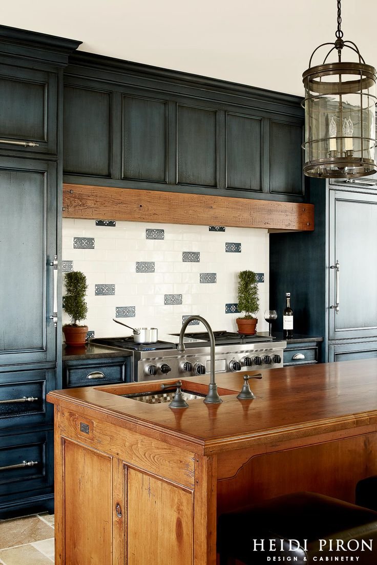 White And Navy Glaze Kitchen Cabinets