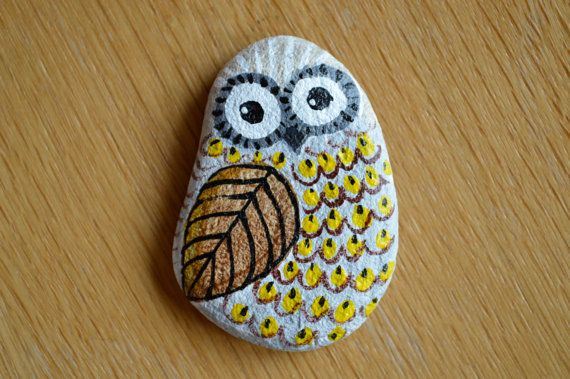 Owl painted on stone by StoneLovers on Etsy