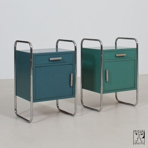 Sensational pair of Bauhaus cabinets with the original coat of paint ( would make awesome bedside tables, could mix with other modernist furniture or an eclectic mix... Could really fit a boys room.)