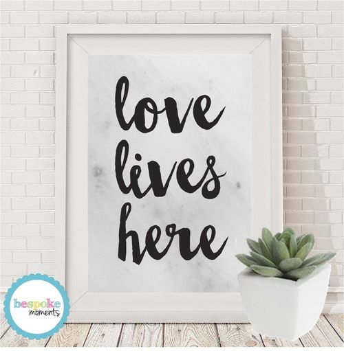 Marble Love Lives Here Print by Bespoke Moments. Worldwide Shipping Available.