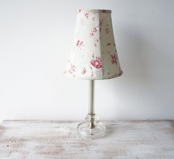 Vintage small glass table lamp with shade bedside lamp for Bedside table lamp shades