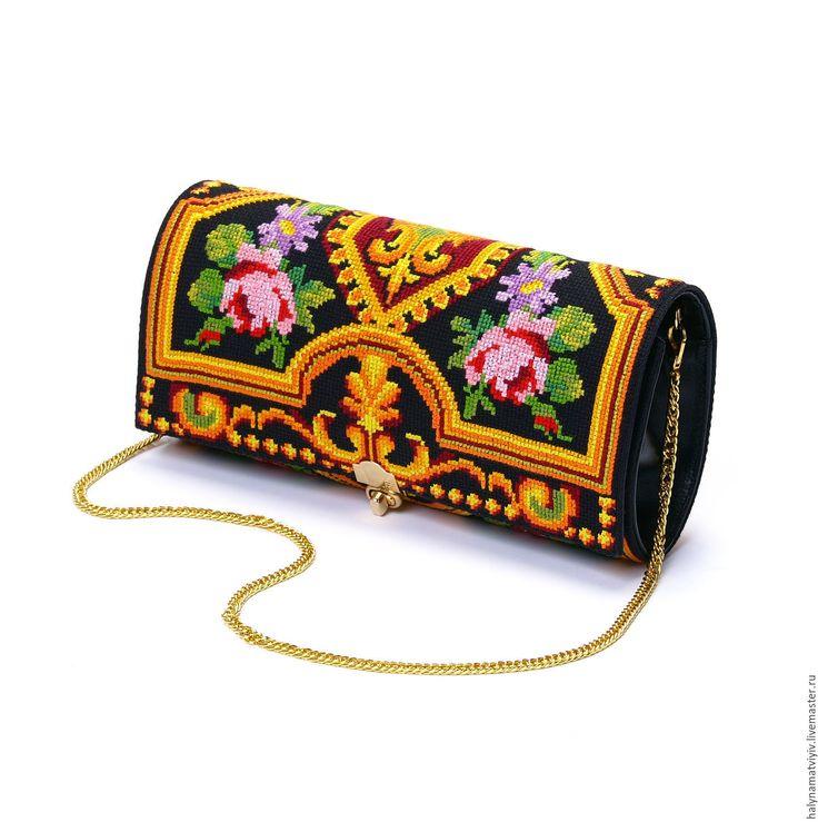 Купить Клатч «Королевское золото» - клатч, клатч ручной работы, клатч на цепочке, вышивка ручная