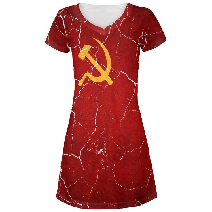 Distressed Soviet Union Flag All Over Juniors V-Neck Dress