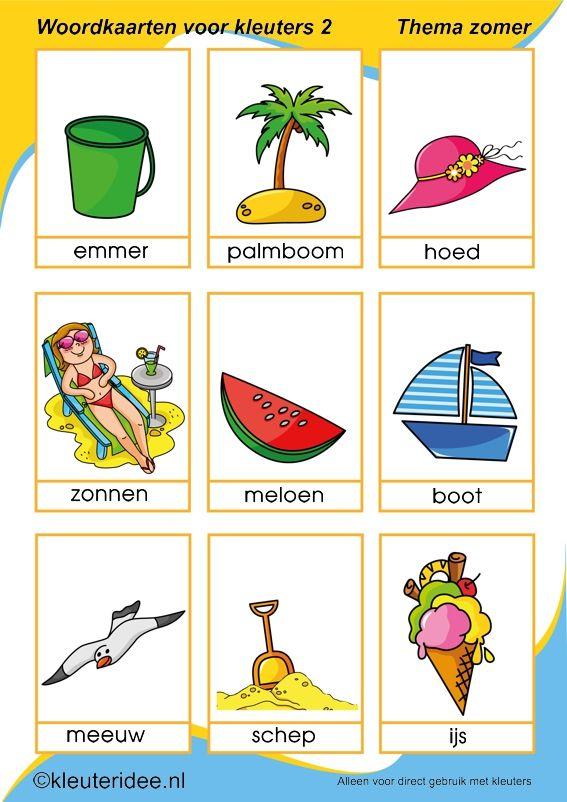 Nieuwe woordkaarten 2 voor kleuters, thema zomer, kleuteridee, free printable.