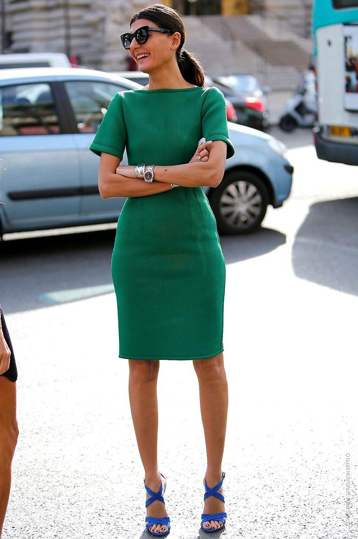 Green dress and blue high heels