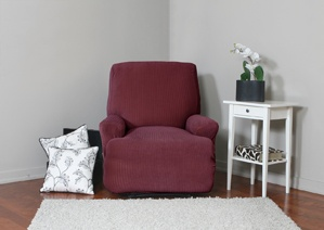 Spencer Wine Recliner Slipcover. Plush, velvety surface with deeply embossed parallel lines approx 1.2 cm apart home decor, form fit slip cover design for your home, chic interior design