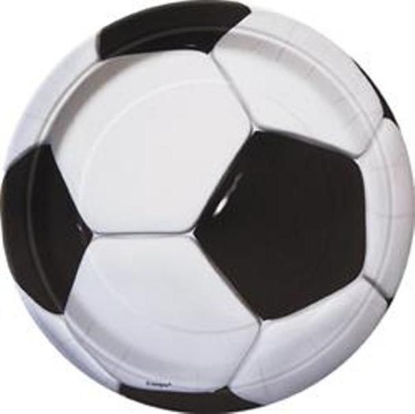 Soccer Football Black White Party Lunch Snack Plates - 8 Pack