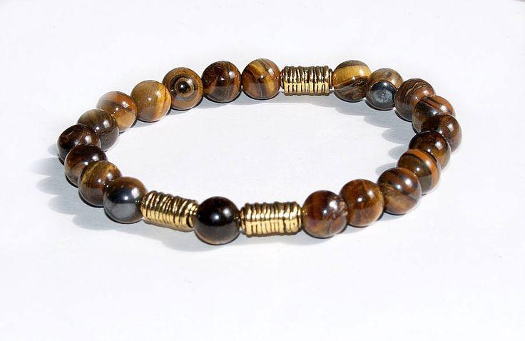 Tigerauge Edelstein Armband braun 8mm gold Akzente Herren Damen Armband Schmuck Geschenk für Männer Frauen für Ihn für Sie Surfer Joga Mala von CreativeWithHeart auf Etsy