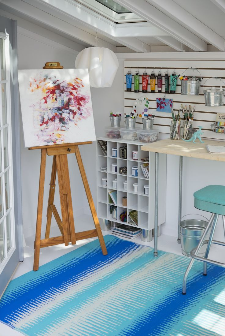 Draw from ample natural light and the beauty of your surroundings in your art studio She Shed. We've got all the details you need to build your backyard inspiration center. #shedplans