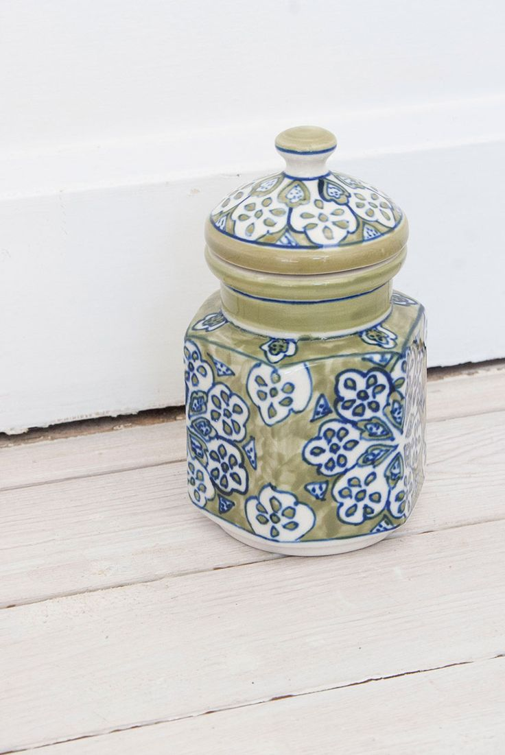 Lime Ceramic Painted Gypsy Jar #homeware #home #interiors #inspo #handpainted #indian #fairtrade #bohemian #style