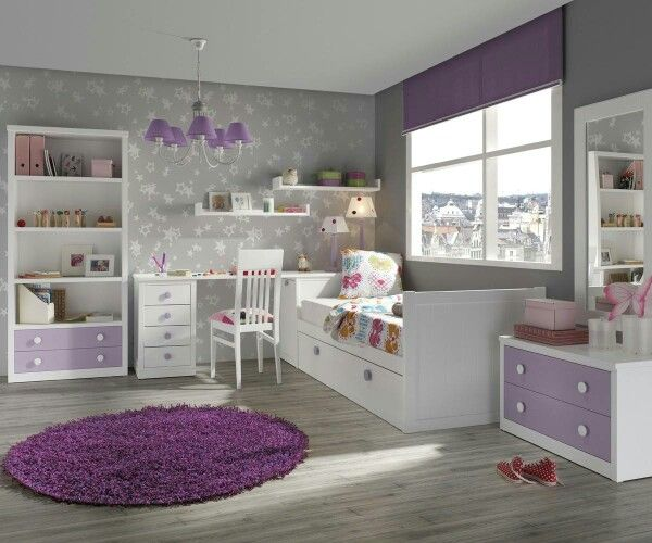 Recámara juvenil en violeta